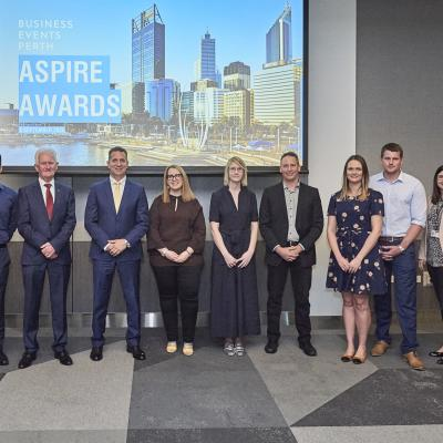 The winners of the 2020 Business Events Perth Aspire Awards with Tourims Minister Paul Papalia and BE Perth CEO Gareth Martin