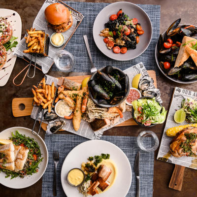 A spread of delicious food at Bluewater | Bar | Bistro | Functions