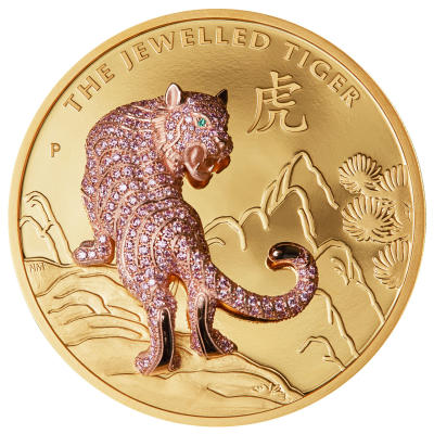 Pink Diamond Jewelled Tiger Leaps Onto Rare Perth Mint Coins