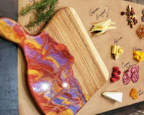 Charcuterie board with meats and cheese from Catalyst Creative Arts