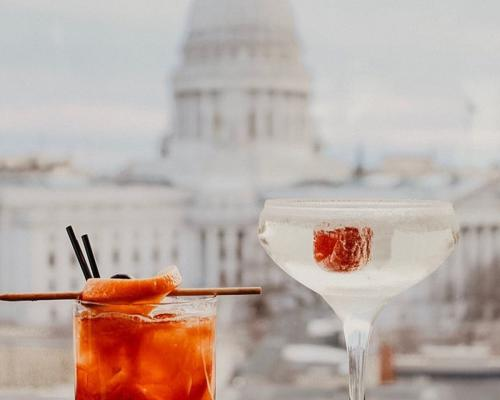 Cocktails from the AC Hotel with the State Capitol as a backdrop