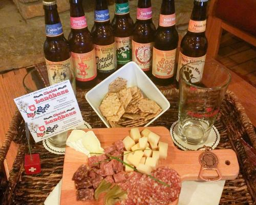 A selection of beer and a cheese board from Chalet Landhaus Inn