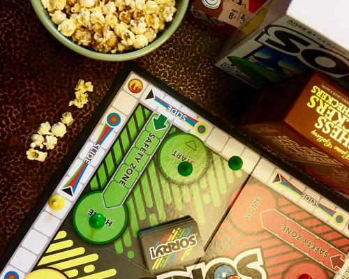 A board game and popcorn from GrandStay Hotel & Suites in Mount Horeb