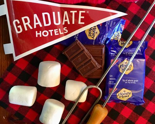 Ingredients for s'mores sitting on a table at Graduate Madison