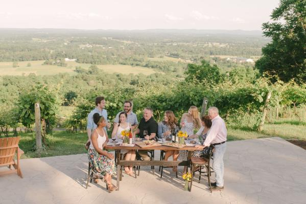 Group of 9 people at a table, tasting wine at Bluemont Vineyards, with the vines and countryside in the background