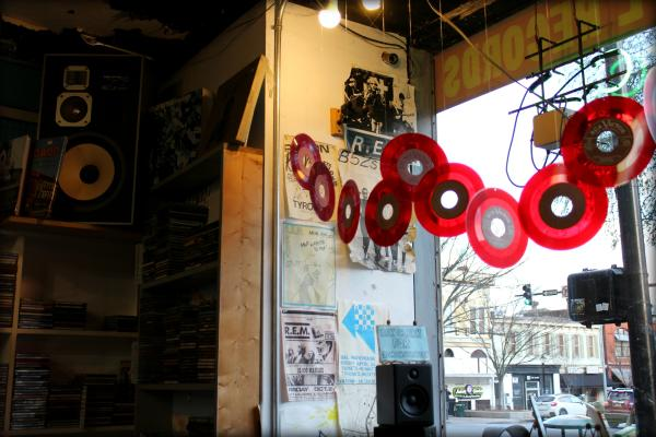 Interior view of records decorating the storefront window of Wuxtry Records in Athens, GA.