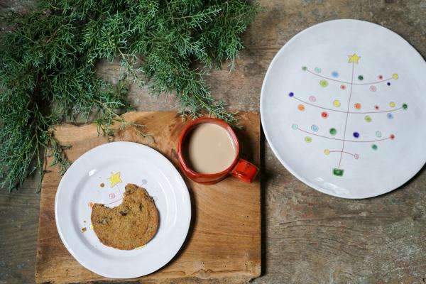 R. Wood holiday plate and cookies