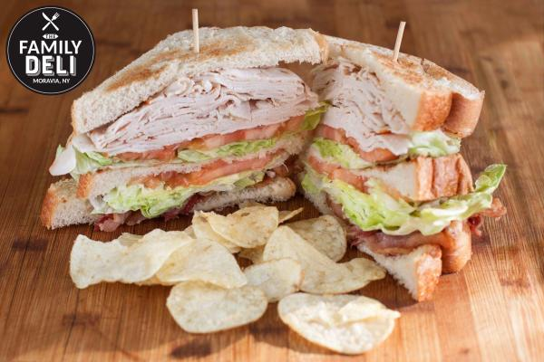 Turkey Club sandwich from the Family Deli, Moravia