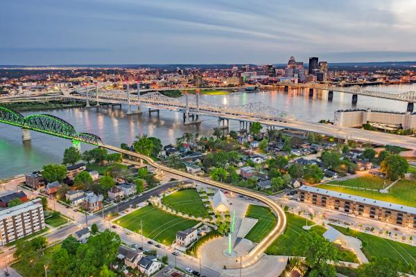 Aerial view of the Big Four Station Bridge Park in Jeffersonville