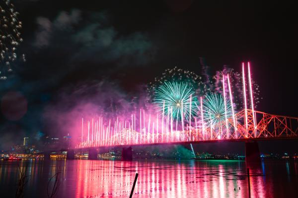 Thunder Over Louisville Bridge Fireworks