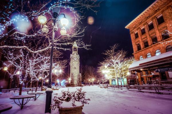 Magical Centerway Square Winter Evening Clocktower
