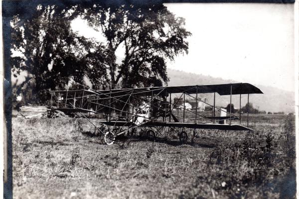 Blanche Stuart Scott on Curtiss Pusher in Hammondsport