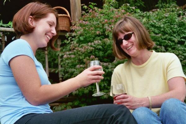 ladies enjoying wine outside