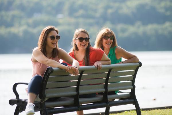 women by the lake