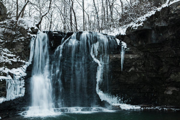Hayden Run waterfall covered in snow and ice