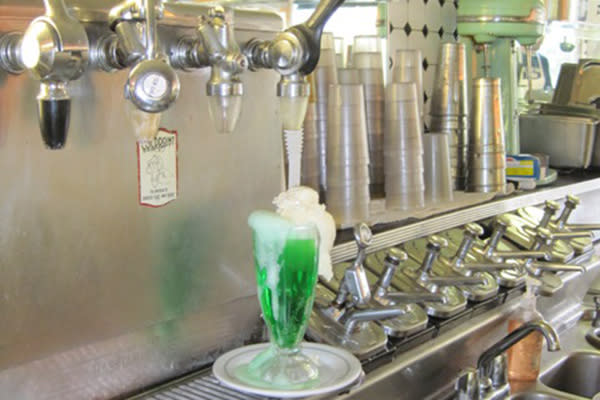 Freshly poured green drink from South Side Soda Shop