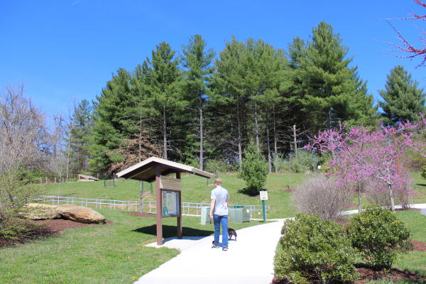 Man looking at trails maps with his dog at the Catoctin Creek Nature Center