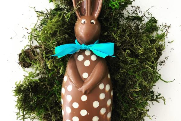 Easter bunny chocolate from Constance Popp Chocolatier on a bed of moss