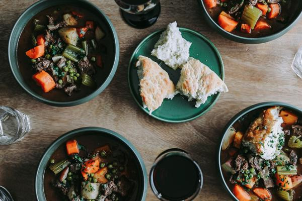 Hearty Moose Stew with Winter Root Vegetables with Bannock Recipe