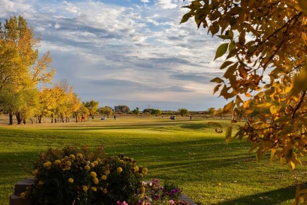 View of the Pipestone Golf Course fairway on a fall afternoon