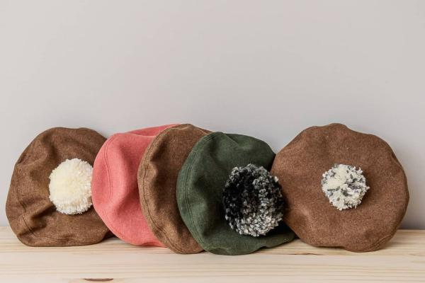 Five Triplets and Co. berets in brown, green and pink