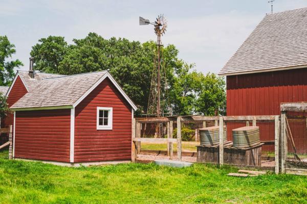 Historic farm and barnyard buildings