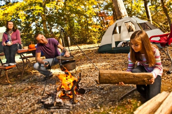 Family at a camp site