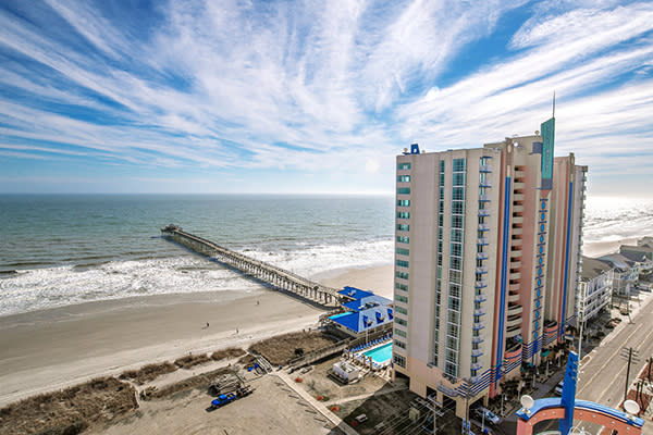 Prince Resort at Cherry Grove Pier aerial beach view