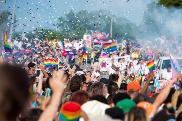 Crowd enjoying parade during OKC's Pride Week