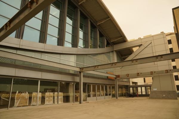 Photo of construction progress of the SAFE Credit Union Convention Center in Sacramento. Photo taken September 2020.