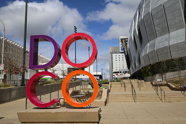 doco sign in front of golden 1 center