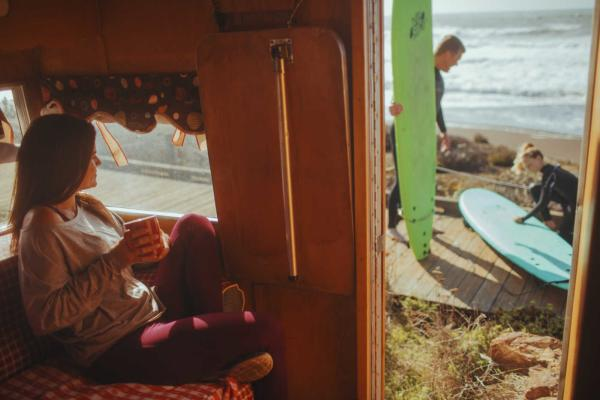 camper and coffee on highway 1 in san luis obispo