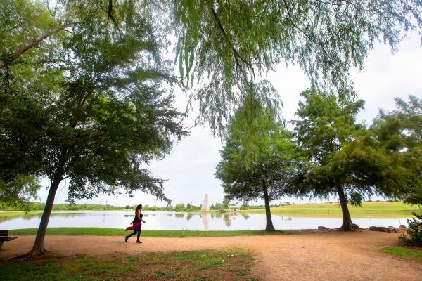 Two ladies enjoying a jog at Sugar Land Memorial Park.