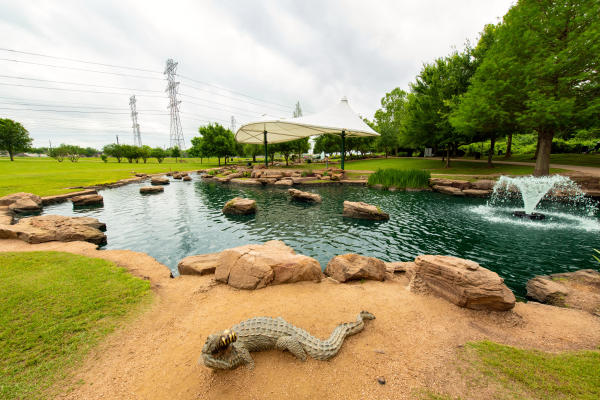 Wide view of Oyster Creek Park in Sugar Land, TX.