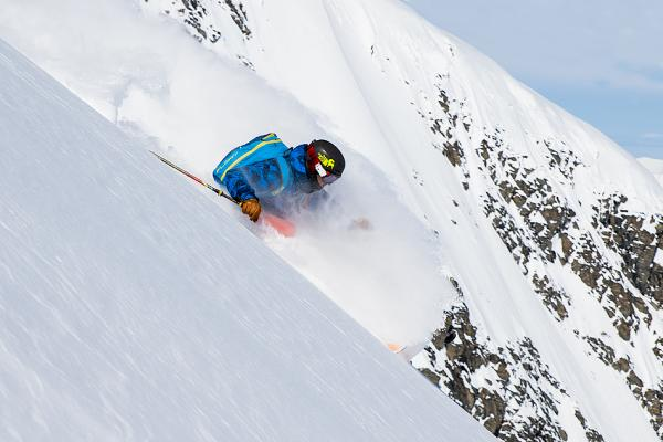 a skier on a mountain in the Chugach mountain range