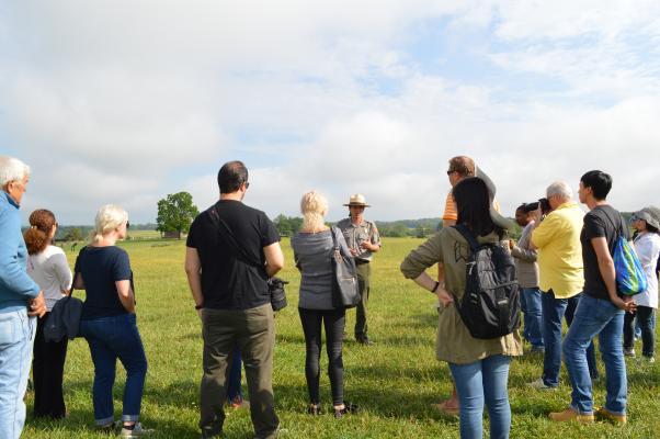 Tour Group and Interpreter at Manassas National Battlefield
