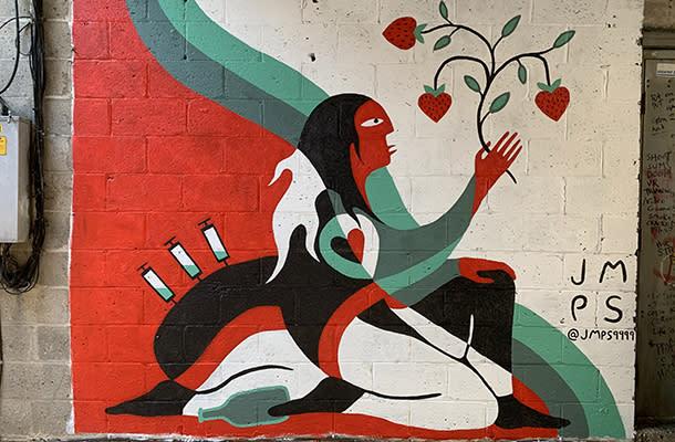 Josh Mangeshig Pawis-Steckley mural