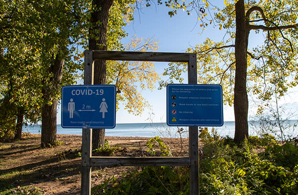 Social Distance Sign Beach