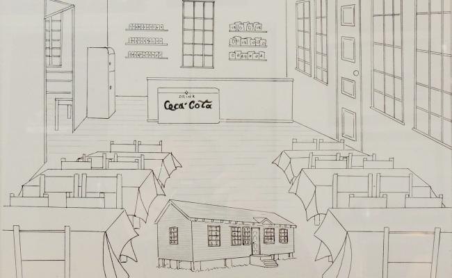 Artist's rendering of the interior of Margaret Crowner's Cook Shop.