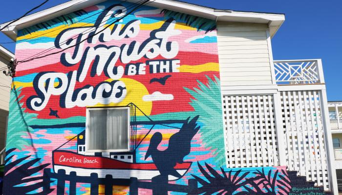 This Must Be the Place mural in Carolina Beach