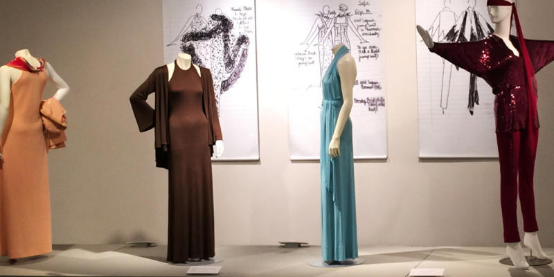 Four fashion ensembles from the Sage costume collection at the Eskenazi Museum of Art