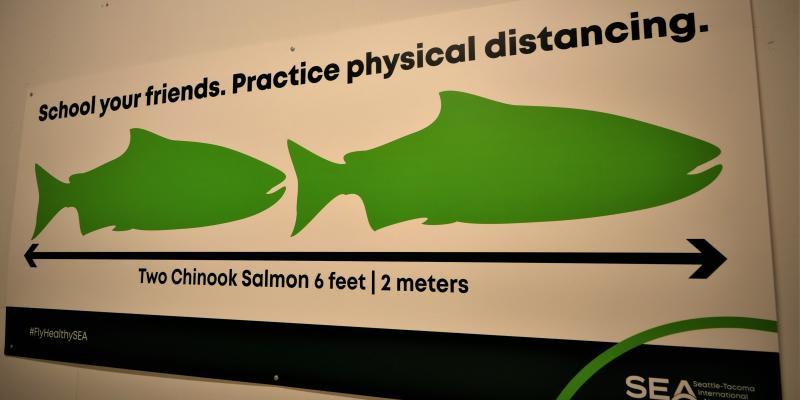 Physical distancing sign at SEA
