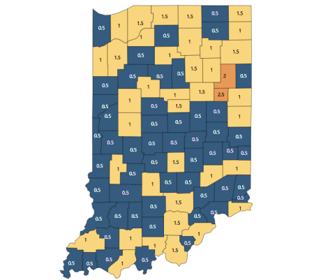 Indiana COVID color-coded assement map by county