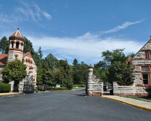 Woodland Cemetery in Dayton, Ohio. Picture of gateway, chapel, and office buildings
