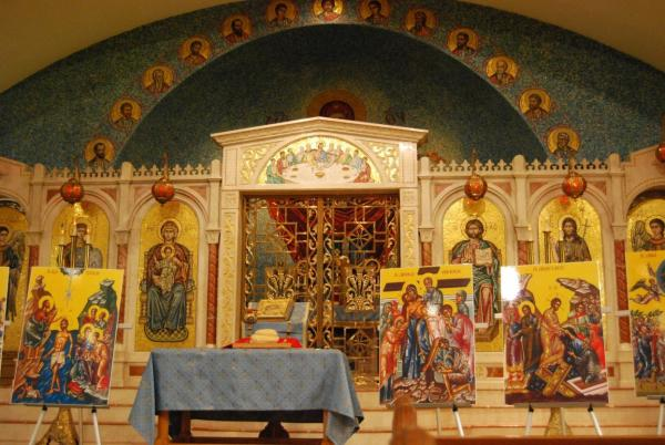 Alter and Pictures at St. George Greek Orthodox Church In Knoxville, TN