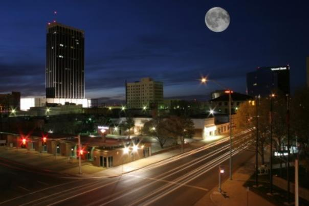Downtown Amarillo W Full Moon