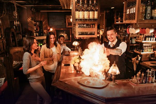 Flaming Drink at Bar
