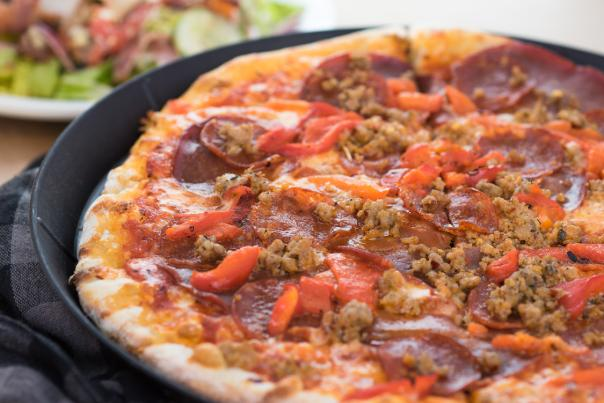 A Meat Lover's Pizza from Fat Ptarmigan