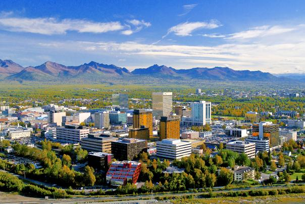 Anchorage Cityscape aerial view