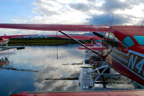 Floatplanes at Lake Hoods wait for sightseeing flights
